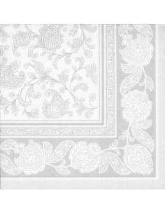 Servilletas Decoradas 40 x 40 cm Blanco Royal Collection Ornaments
