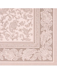 50 Servilletas 40 x 40cm Decoradas Color Marrón Mocca Royal Collection Ornaments