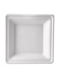 Platos hondos caña azúcar cuadrados de color blanco 20 x 20 cm Pure