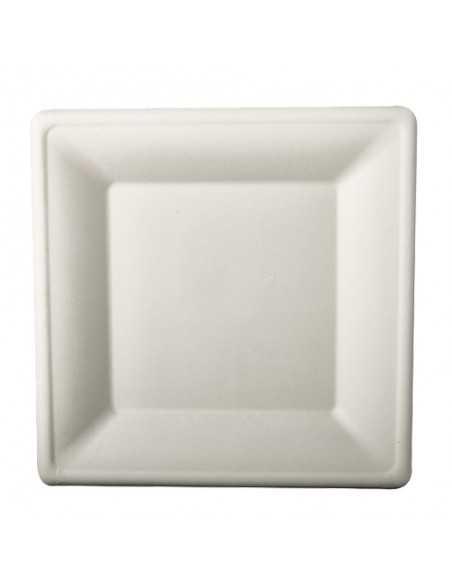 50 Platos 26 x 26 cm Cuadrados Caña de Azúcar Blanco Pure