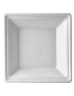 Platos hondos cuadrados caña azúcar color blanco compostables 26 cm
