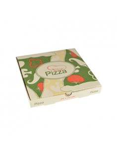 100 Cajas Pizza para llevar Papel Celulosa Pure Cuadradas 24 x 24 x 3cm