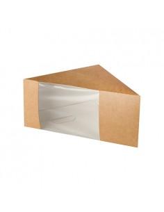 Cajas para sandwich cartón marrón con ventana bioplástico transparente doble