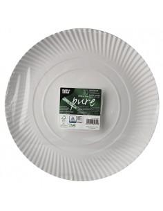 Bandejas de cartón redondas color blanco Pure Ø 32cm
