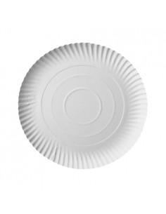 Bandejas cartón redondas compostables blancas Ø 24 cm Pure