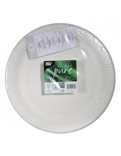 Platos blancos de cartón redondos Ø 29 cm Pure