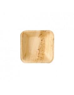 25 Platos Fingerfood Hondo Cuadrado de Hoja de Palma Pure 8 x 8 cm