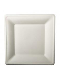 100 Platos Cuadrados de Caña de Azúcar Pure Color Blanco 26x26 cm
