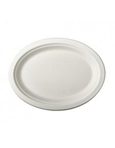 Platos de caña azúcar ovalados color blanco 26 x 20cm Pure