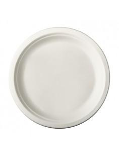 50 Assiettes Ø 23 cm Rond  en Canne à Sucre Blanc Pure