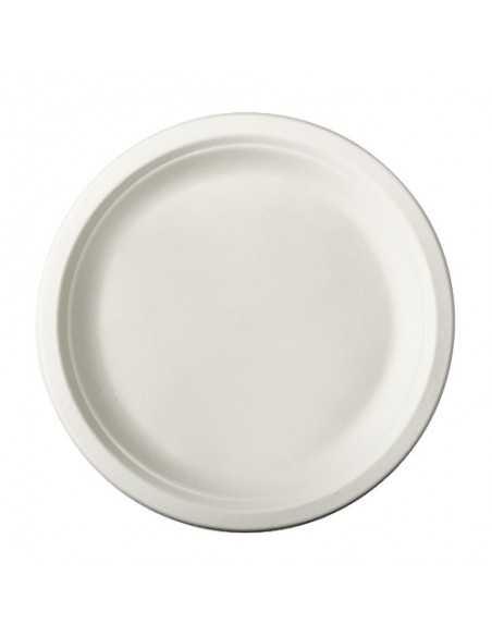 50 Platos Ø 23 cm Redondo de Caña de Azúcar Blanco Pure
