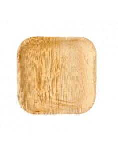 Platos cuadrados compostables hoja de palma natural 18 x 18 cm
