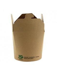 25 Envases Comida Para Llevar Cartón Marrón 9,8 x10 x 8,8 cm Pure 100% Fair