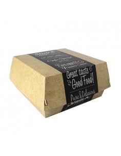 50 Cajas Hamburguesas XXL Cartón Fibra Fresca Good Food 15,5 x 15,5 x 9 cm Pure
