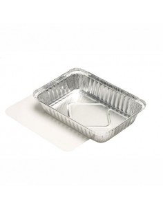 25 Bandejas Aluminio con Tapa Cartón Laminado 15 x 21,4 x 4 cm