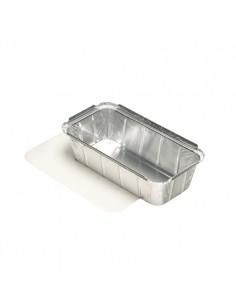 5 Bandejas Aluminio Con Tapa Cartón Laminado PE 21,3 x 11 x 5,4 cm