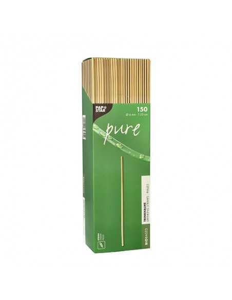 Cañitas rígidas vegetales compostables color natural Ø 4mm x 23 cm