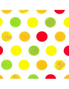Servilletas de papel decoradas topos colores 33 x 33cm