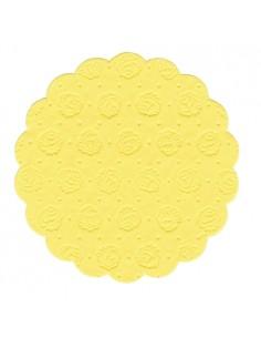 Posavasos blonda de papel color amarillo redondos Ø 9 cm