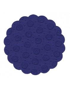 Posavasos blonda de papel color azul oscuro redondos Ø 9 cm