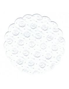 Posavasos blonda de papel color blanco redondos Ø 9 cm