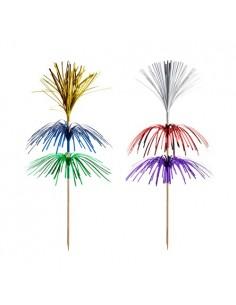 Piques décoratives pour boissons bois couleurs assorties 18 cm Fireworks