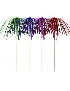 100 Palillos Decorativos Cóctel de Madera 15,5 cm Colores Surtidos Fireworks