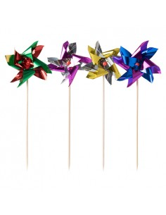 100 Palillos Decorativos Cocktail Molinillos Metalizados Colores Surtido 17,5cm