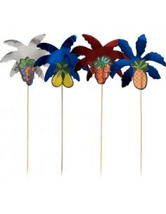 50 Palillos Decorativos de Madera Palmeras 19,5 cm