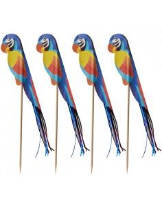 100 Palillos Decorativos Loros Para Cóctel 18 cm