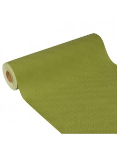 Camino mesa papel aspecto tela impermeable color verde oliva Soft Selection Plus 24 m x 40 cm