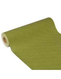 Camino mesa papel aspecto tela color verde oliva Soft Selection Plus 24 m x 40 cm