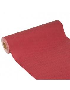 Camino mesa papel aspecto tela color burdeos Soft Selection Plus 24 m x 40 cm