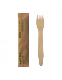 Tenedores de madera envueltos individualmente Pure 15,5cm