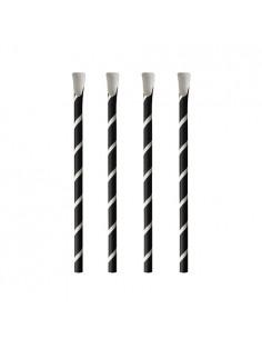 Cañitas con cuchara papel negro blanco rayas Ø8mm x 20 cm Pure
