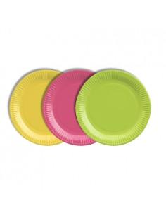 Platos de cartón colores desechables para fiestas Ø 19 cm