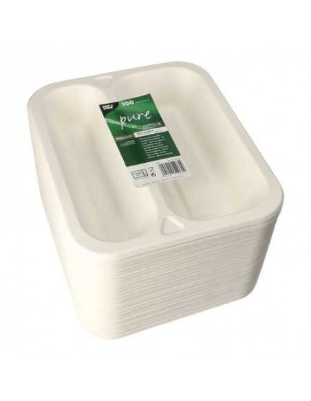 Bandejas menú termosellables compostables caña azúcar 2 comp. 975 ml Pure