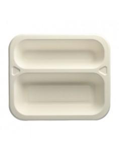 100 Bandeja Termosellable Caña de Azúcar Blanco 2 compartimentos 21,2 x 25 cm Pure