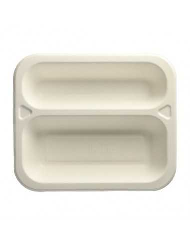 1Bandejas menú termosellables compostables caña azúcar 2 comp. 975 ml Pure