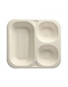 50 Bandeja Termosellable Caña de Azúcar Blanco 3 compartimentos 24,5 x 26,5 cm Pure
