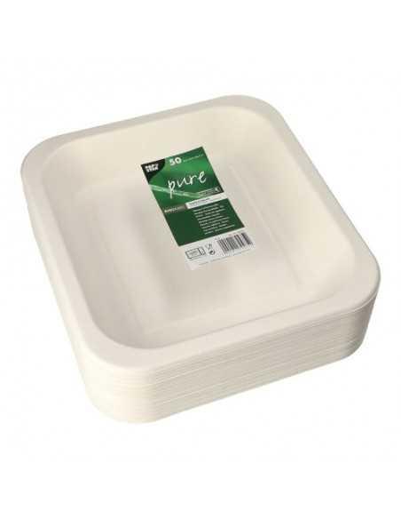 50 Bandeja Termosellable Caña de Azúcar Blanco 24,5 x 26,5 cm Pure