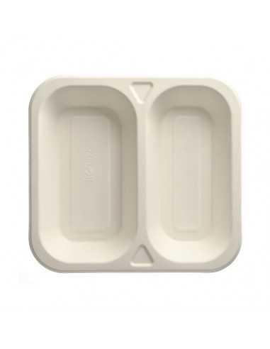 50 Bandeja Termosellable Caña de Azúcar Blanco 2 Compartimentos 24,5 x 26,5 cm Pure