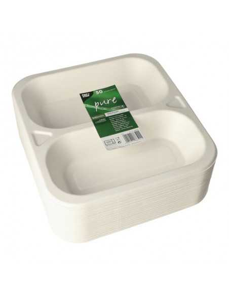 Bandejas menú termosellables compostables caña azúcar 2 comp. 1250 ml Pure