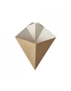 50 Cones de Cartão com Molheira para Batatas Fritas 19,5 x 16,5 cm Castanho/Branco Pure