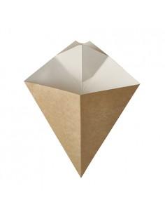 50 Conos Carton Con Esquina Para Salsa 19 x 23,5cm Marron/Blanco Pure