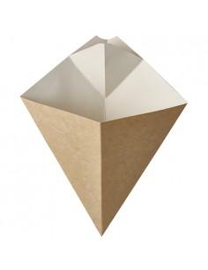 50 Conos Cartón Fibra Fresca Con Esquina Para Salsa Capacidad 300gr Pure