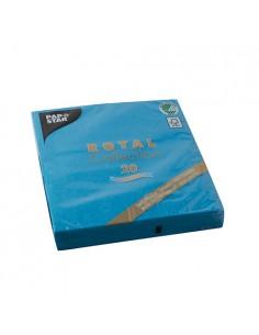 Servilletas papel aspecto tela azul turquesa Royal Collection 33 x 33 cm