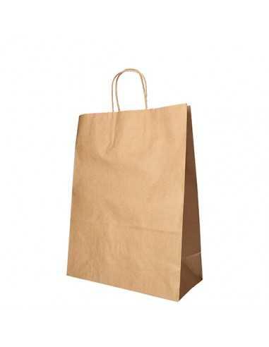 Bolsas papel kraft con asa retorcida marrón 35 x 26 x 12 cm
