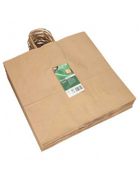 Bolsas papel kraft marron con asa retorcida 35 x 35 x 14cm