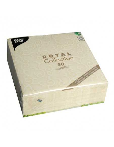 50 Servilletas 40 x 40 cm Color Crema Royal Collection Casali